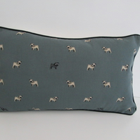 Sophie Allport Pugs Cushion Cover with Black Piping