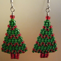 Christmas Tree Earrings Hand Woven