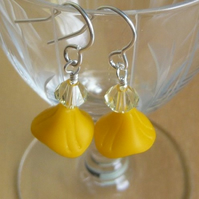 Yellow Glass Bead Earrings