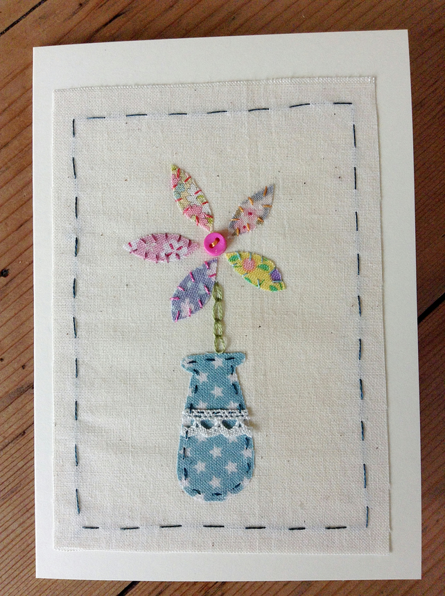 Ditsy fabric flower card
