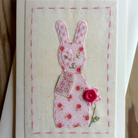 Fabric Bunny Baby Girl card