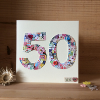 50th patchwork birthday card