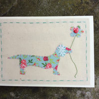 Dottie Dachshund Fabric card