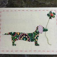 Darcey Dachshund Fabric card