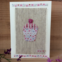 Hand stitched cupcake card