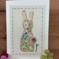 New baby boy hand stitched card