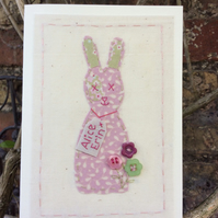 New baby personalised hand stitched bunny card