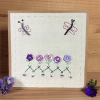 Flora purple buttons card