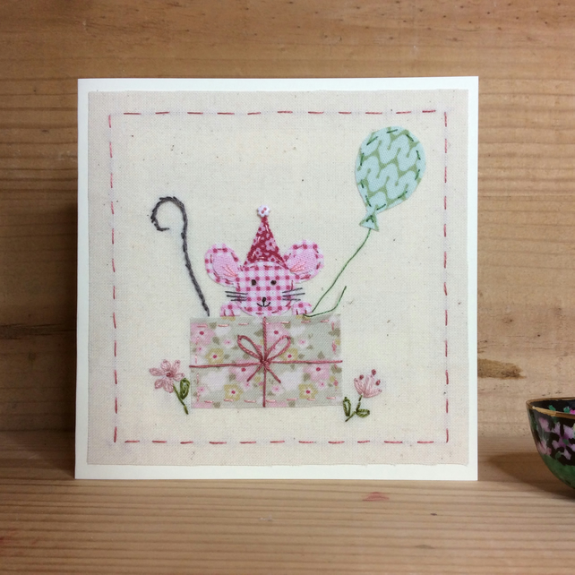 Mitsy Mouse Hand Stitched Birthday Card