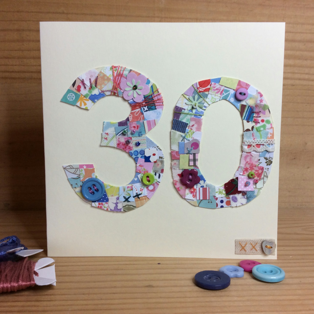 30th patchwork birthday card