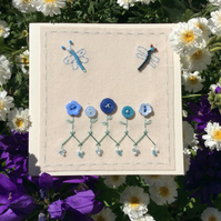 Flora blue buttons hand stitched card