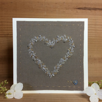 Hand Stitched Beaded Heart Wedding card