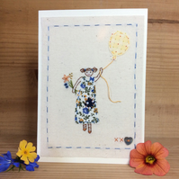 Girl with a Posie hand stitched card
