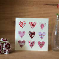 9 hearts Valentines card