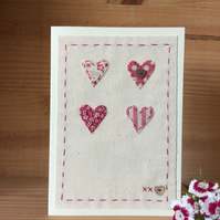 4 hearts Hand embroidered card