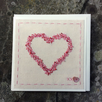 Hand stitched heart card