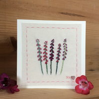 Little row of Penstemons hand stitched card