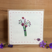 Purple bouquet hand-stitched card