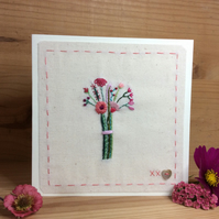 Little hand-stitched bouquet card