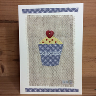 Hand stitched blue star cupcake card