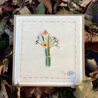 Autumn colours bouquet hand-stitched card
