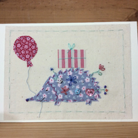 Henrietta hedgehog hand-stitched card