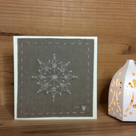Little Snowflake Hand-stitched Christmas card