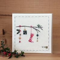 Christmas twig hand-stitched card