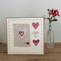 4 Hearts Hand Stitched Engagement card