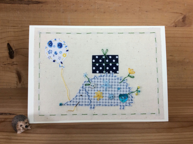 Herbie Hedgehog hand-stitched card