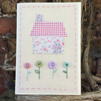 Little Stitched Cottage Hand-stitched card