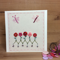 Flora pink buttons hand stitched card