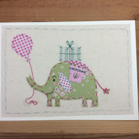 Eliza Elephant hand-stitched card
