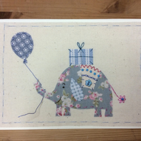 Ernie Elephant hand-stitched card