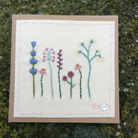 Cottage garden flowers hand stitched card