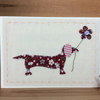 Dora Dachshund fabric card