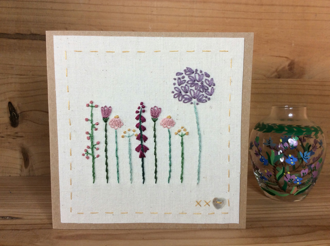 Cottage garden hand stitched card