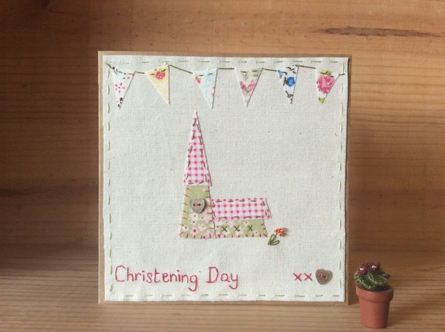 Christening Day Bunting Hand Stitched card