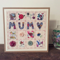 Patchwork hand embroidered Mum card