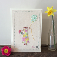Girl in a vintage dress hand embroidered card