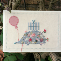 Hester the hedgehog hand embroidered card