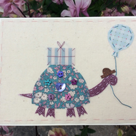 Sammy the tortoise hand embroidered birthday card