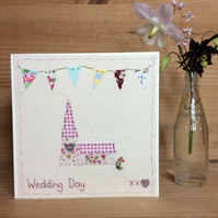 Wedding Day Bunting hand embroidered card