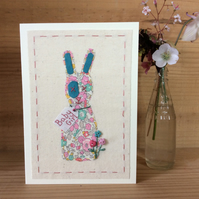 New baby girl hand embroidered bunny card