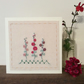 Hollyhocks hand embroidered card