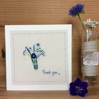 Little hand embroidered bouquet thank you card