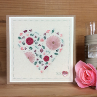 Floral heart hand embroidered card