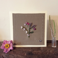 Button and Bead Posie hand embroidered card
