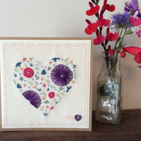 Bright Floral Heart hand embroidered card