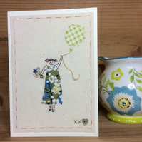Girl with a balloon hand stitched card